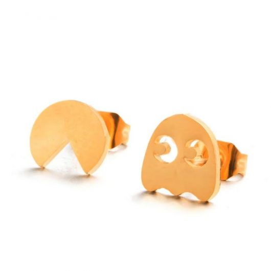 gold paman stud earrings